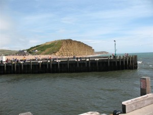 West Bay Dorset - the East Cliff and entrance to the harbour
