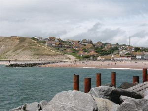 West Bay Dorset - the West Beach as seen from the entrance to the harbour