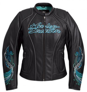 Harley Davidson Woman Jacket with Blue Stitching