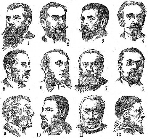 variety of beards and facial hair on men