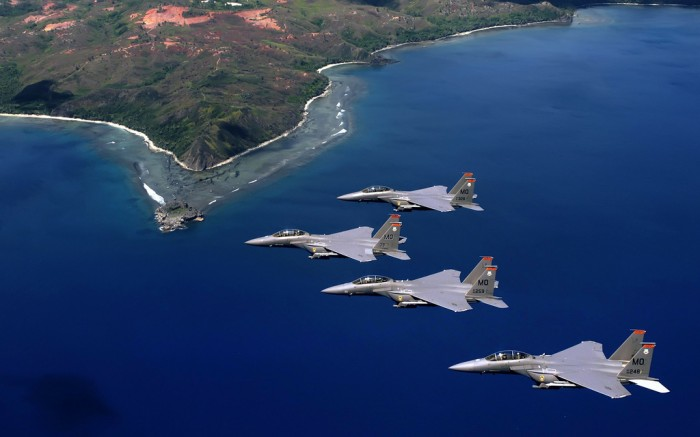 four f-15 fighters over guam