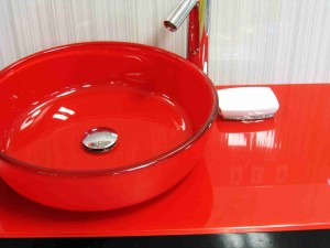 red basin to freshen up bathroom