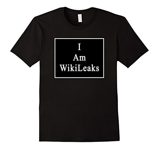 black t-shirt with white words that say i am wikileaks